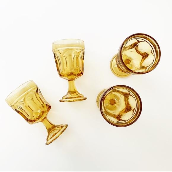 Set of 4 Vintage Mustard Colored Mini Glasses